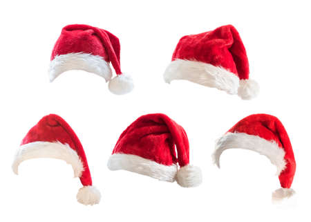 Santa Claus helper red hat costume set isolated on white background with clipping path for Christmas and New Year holiday seasonal festive celebration design decoration 免版税图像