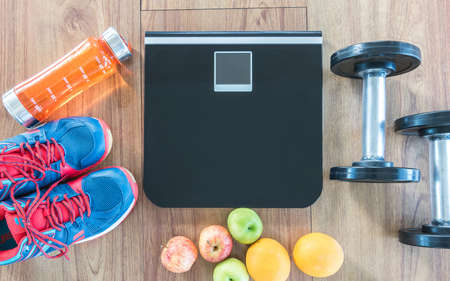 Healthy lifestyle clean food dietary and gym training class concept