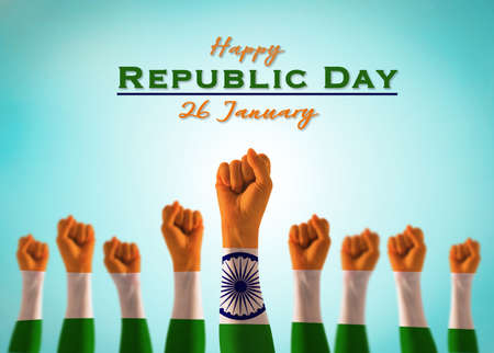 Happy India republic day 26 January, holiday announcement Stok Fotoğraf