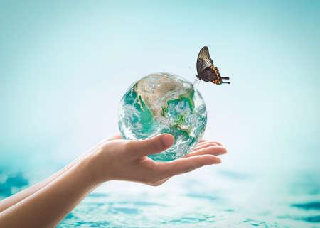 Wereldoceaandag, waterbesparingscampagne, duurzaam ecologisch ecosysteemconcept met groene aarde op de handen van de vrouw op blauwe zeeachtergrond Stockfoto