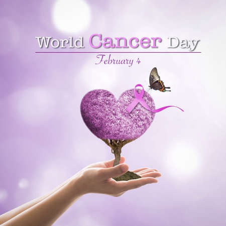 World cancer day  4th  February with lavender ribbon awareness on heart tree Standard-Bild