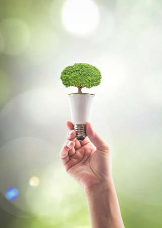 Saving energy by eco friendly creative innovative technology design concept idea
