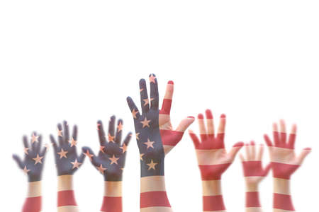 USA American flag pattern on people hands for voting, volunteering participation election, civil rights concept Reklamní fotografie