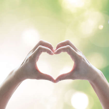Hand in heart shape for eco friendly environment CSR in natural resource awareness concept