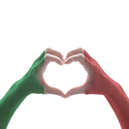 Italy National flag pattern on hand heart shape on white background