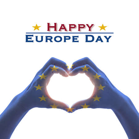 Happy Europe day with European Union EU flag pattern on people's hands in heart shape isolated on white background Stockfoto