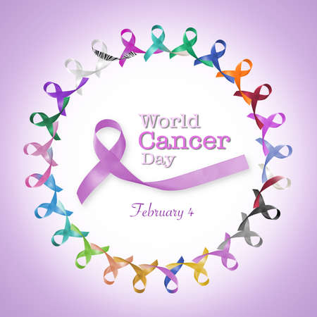 World cancer day, February 4 announcement among multi-color and lavender purple ribbons for raising awareness of all kind tumors