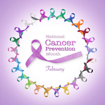 National cancer prevention month, February, with multi-color and lavender purple ribbons for raising awareness of all kind tumors