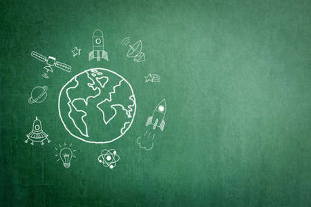 International day of human space flight UFO concept on grunge green chalkboard background Stok Fotoğraf