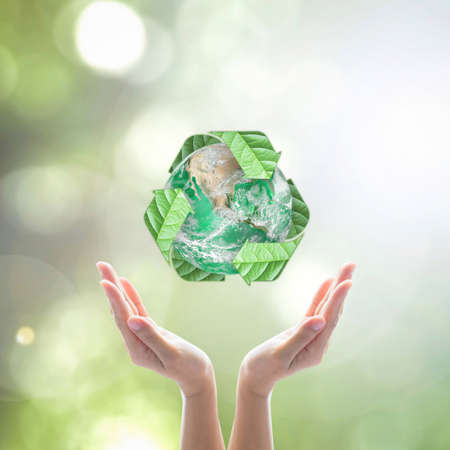 World environment day and ecology concept with woman human hands under green planet with recycle sign.