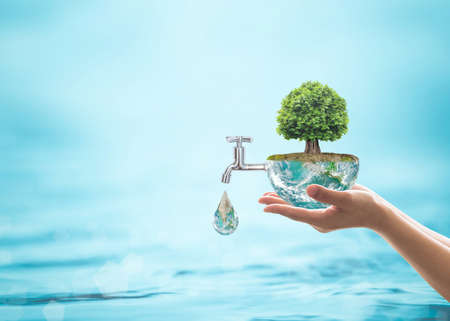 World environmental ecology concept with rain forest tree planting on green globe with water faucet. Stockfoto