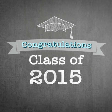 Graduation congratulations class of 2015 greeting announcement for educational congrats card with student's cap doodle on school black teacher's chalkboard background Stock Photo
