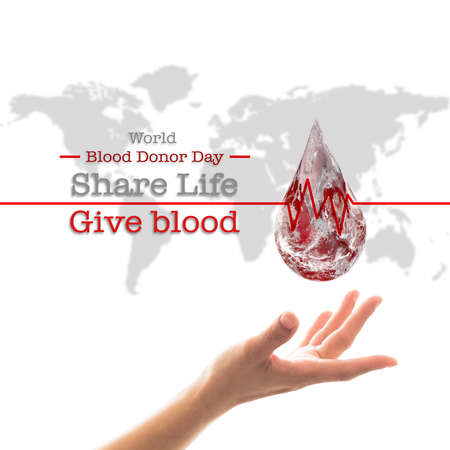 World blood donor day and National blood donor month for donation charity concept.