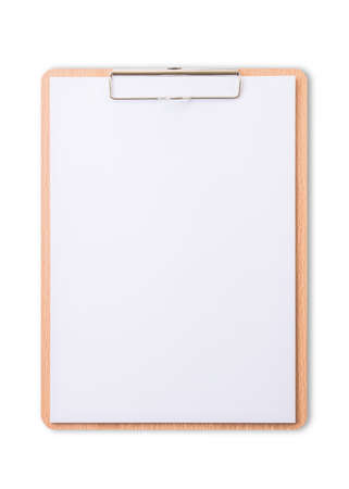 Clipboard note pad mock up with blank A4 size white page paper isolated on white background  for business and education mockup template