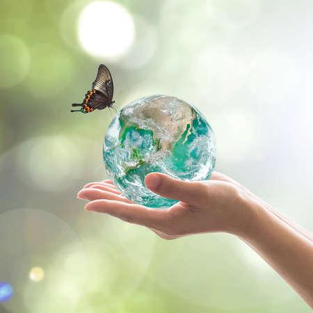 Weltumwelttag und umweltfreundliches Konzept mit grüner Erde auf den Händen der Freiwilligen.