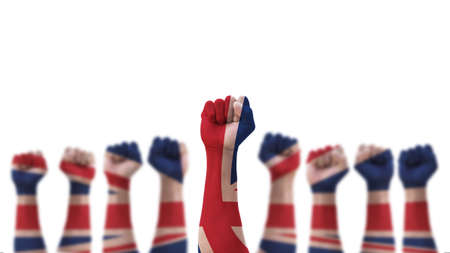 May day UK labour day concept with British United Kingdom flag pattern on people clenched fist of man's hand isolated on white  background