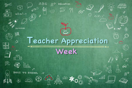 National teacher appreciation week on green chalkboard with doodle