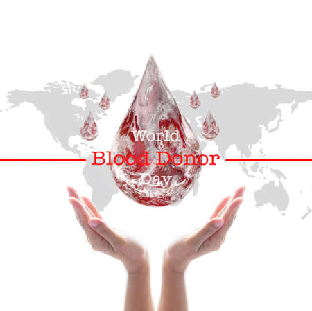 World blood donor day and National blood donor month for donation charity concept