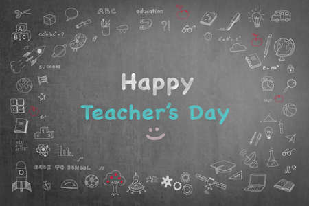 Happy teachers day greeting on black chalkboard with doodle