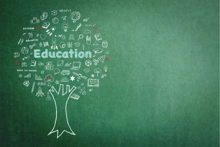Tree of knowledge and education concept on green chalkboard with doodle