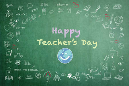 Happy teacher's day greeting on green chalkboard with doodle Фото со стока
