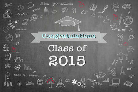 Graduation congratulations class of 2015 greeting announcement for educational congrats card with student's cap doodle on school black teacher's chalkboard background
