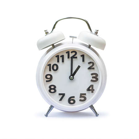 White alarm clock at 1 one oclock isolated on white background (clipping path)