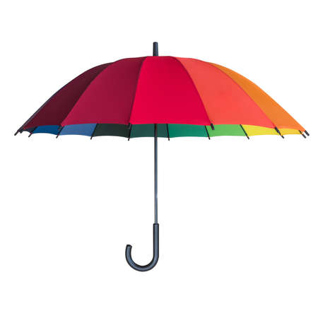 Rainbow umbrella isolated on white background with clipping path for Insurance and uv protection concept Banco de Imagens