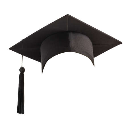 Graduation hat, Academic cap or Mortarboard in black isolated on white background with clipping path for educational hat design mockup and school commencement hat mock-up template