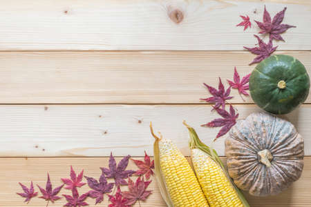 Thanksgiving background and autumn farm harvesting in fall holiday season concept with pumpkin, corn, fruits and vegetable on wood table with red autumn leaves