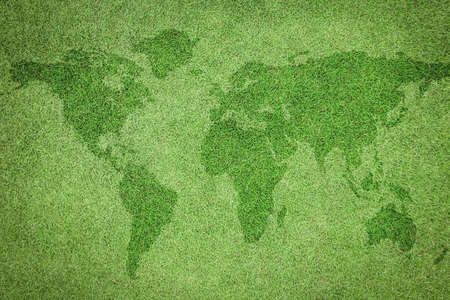 Natural grass texture pattern background of golf course turf lawn with world map from top view lawn in bright yellow green Stok Fotoğraf