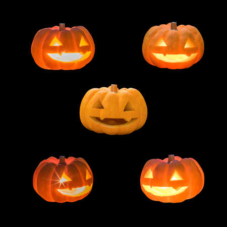 Jack O Lantern halloween pumpkins set template with carved scary funny glowing candle light lit orange face isolated on black background with clipping path for autumn holiday decoration element Stok Fotoğraf