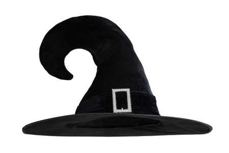 Halloween Witch wizards hat in black isolated on white background with clipping path for Autumn seasonal holiday costume Stok Fotoğraf