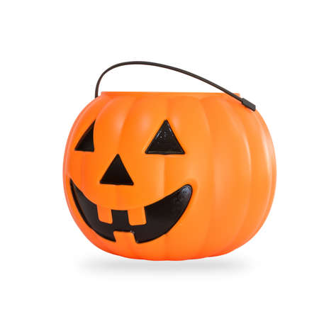 Pumpkin basket isolated on white background (clipping path) for kid collecting candy Jack olantern basket , trick or treat on Halloween day celebration Stok Fotoğraf