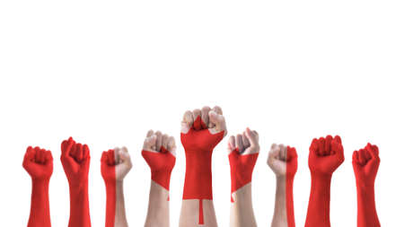 Labour day celebration with Canada national flag pattern on Canadian people clenched fist hand isolated on white background for labor day holiday