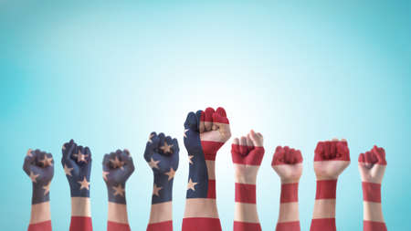 Labor day celebration concept with USA national flag on American people clenched fist hand (isolated with clipping path) for United States of America happy national holiday