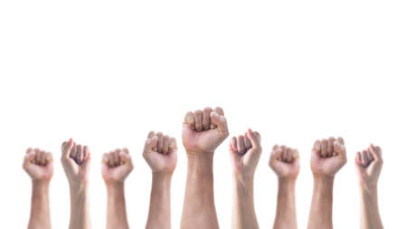 Hands with clenched fist of people crowd (men and women) isolated on a white background with clipping path for social justice and human rights concept