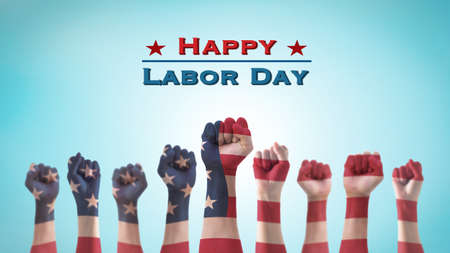 Labor day celebration concept with USA national flag on American people clenched fist hand for United States of America happy national holiday Фото со стока