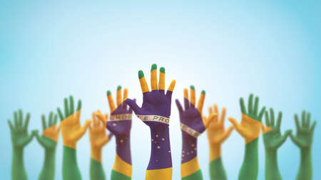 Brazil flag on people palm hands raising up for volunteer, voting, help wanted, and national holiday celebration praying for Brazilian power isolated on blue sky background. Stock Photo