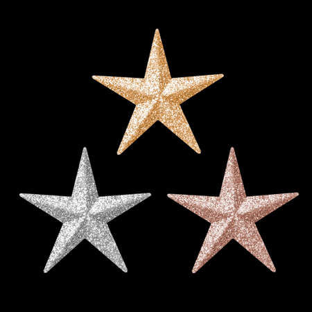 Three shining stars for holiday Christmas and new year party decoration and reward medal ranging