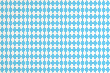 Oktoberfest background with blue Bavarian check seamless pattern, flag of Bavaria on white fabric canvas for Germany national festival celebration party