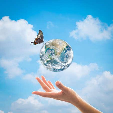 Journée mondiale de l'environnement, concept de protection de l'écologie et de la couche d'ozone avec la main de la femme soutenant la planète terre sous la lumière du soleil avec un beau papillon