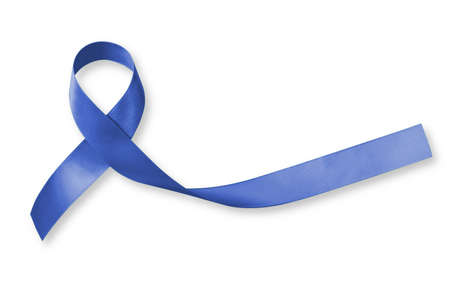 Colorectal/ Colon cancer, Acute Respiratory Distress Syndrome (ARDS), and Tuberous Sclerosis awareness symbolic with dark blue ribbon with dark blue ribbon on white background with clipping path