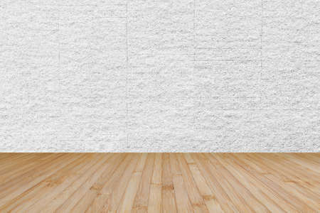 Wooden floor in yellow brown with granite stone brick tile wall aged texture pattern background in white grey color