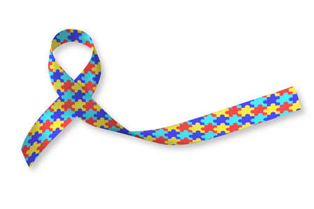 World Autism awareness day WAAD: Colorful Puzzle fabric ribbon isolated on white background raising public support campaign on people's life living with mental health illness