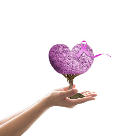 Lavender purple ribbon on heart love tree, symbolic concept raising support people living with all kinds of Cancer awareness