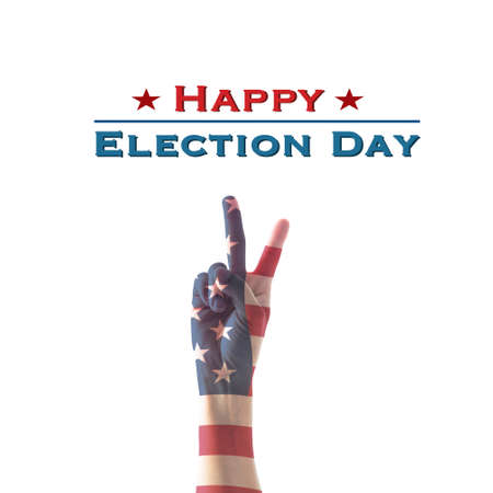 Happy election day with Isolated  V shape hand sign for voting on USA election day   Stock fotó