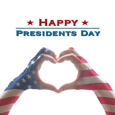Happy presidents day with American US flag pattern on people hands in heart shape