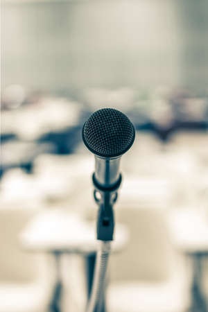Microphone speaker for seminar or conference meeting in educational business event
