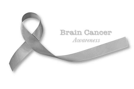 Brain cancer awareness, grey ribbon isolated on white background with clipping path